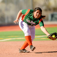 Wingate Bear Ruby Joe (17) scoops a Navajo Pine Warrior infield fly ball during the Wingate Softball Slam tournament at Ford Canyon Park in Gallup Friday.