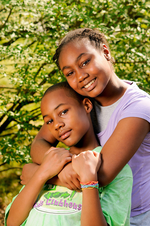 A brother and sister photographed for the Massachusetts Adoption Resource Exchange (MARE).  Children are photographed and the photos are displayed for prospective adoptive families.