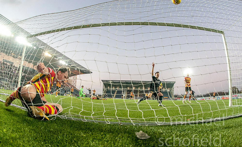 Partick Thistle's Christie Elliott can't stop Falkirk's Joe McKee's first goal (not in pic). Falkirk 1 v 1 Partick Thistle, Scottish Championship game played 17/11/2018 at The Falkirk Stadium.