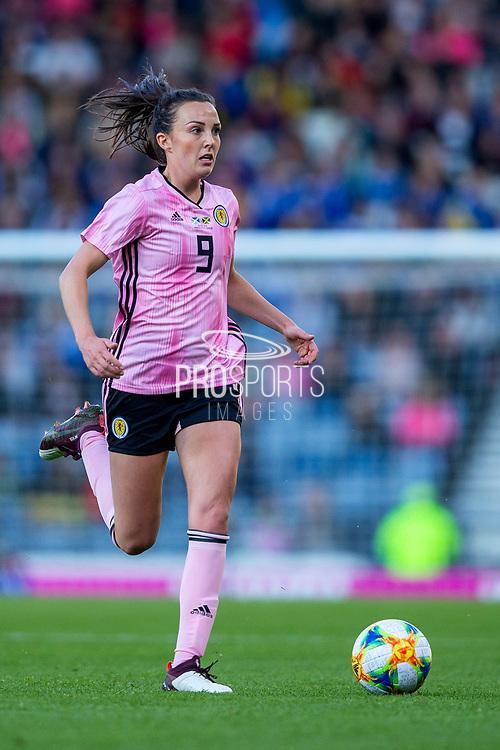 Caroline Weir (#9) of Scotland on the ball during the International Friendly match between Scotland Women and Jamaica Women at Hampden Park, Glasgow, United Kingdom on 28 May 2019.