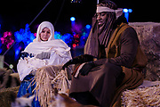 22 DECEMBER 2020 - WEST DES MOINES, IOWA: MARY, JOSEPH, and the new born CHRIST child in the manger during the drive through Christmas experience at Lutheran Church of Hope. About 3,000 cars per night going through the drive through Christmas pageant at Lutheran Church of Hope in West Des Moines. The church staged the drive through Christmas pageant because they decided it wasn't safe to hold in person Christmas services or pageant during the COVID-19 pandemic. On Tuesday night people started lining up to get into the pageant almost an hour before it started.    PHOTO BY JACK KURTZ