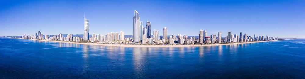 Panoramic aerial view of Surfers Paradise beach & skyline, Gold Coast, Queensland, Australia