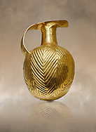Bronze Age Hattian gold flask from a possible Bronze Age Royal grave (2500 BC to 2250 BC) - Alacahoyuk - Museum of Anatolian Civilisations, Ankara, Turkey. Against a warm art background .<br /> <br /> If you prefer to buy from our ALAMY PHOTO LIBRARY  Collection visit : https://www.alamy.com/portfolio/paul-williams-funkystock/royal-tombs-alaca-hoyuk-bronze-age.html (TIP refine search by adding background colour in the LOWER search box)<br /> <br /> Visit our ANCIENT WORLD PHOTO COLLECTIONS for more photos to download or buy as wall art prints https://funkystock.photoshelter.com/gallery-collection/Ancient-World-Art-Antiquities-Historic-Sites-Pictures-Images-of/C00006u26yqSkDOM