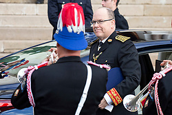 Prince Albert II of Monaco is arriving to St Nicholas Cathedral before the solemn mass celebrated by the arcibishop Bernard Barsi, during the National Day ceremonies, Monaco Ville (Principality of Monaco), on November 19, 2019. Photo by Marco Piovanotto/ABACAPRESS.COM