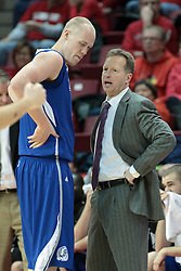 01 February 2014:  Ray Giacoletti speaks with Jacob Enevold Jensen during an NCAA Missouri Valley Conference (MVC) mens basketball game between the Drake Bulldogs and the Illinois State Redbirds  in Redbird Arena, Normal IL.