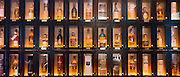 Customers' individual whisky lockers for Single malt Scotch whisky - among them Glenmorangie, Balvenie, Laphroig, Glengoyne, Jura, Ardbeg, Glenfiddich. - in the Great Scots Bar at The Cameron House Hotel Glasgow, Scotland