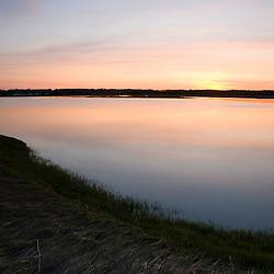 Strawberry Hill Preserve in Ipswich, Massachusetts.  Eagle Hill River.  Sunset.