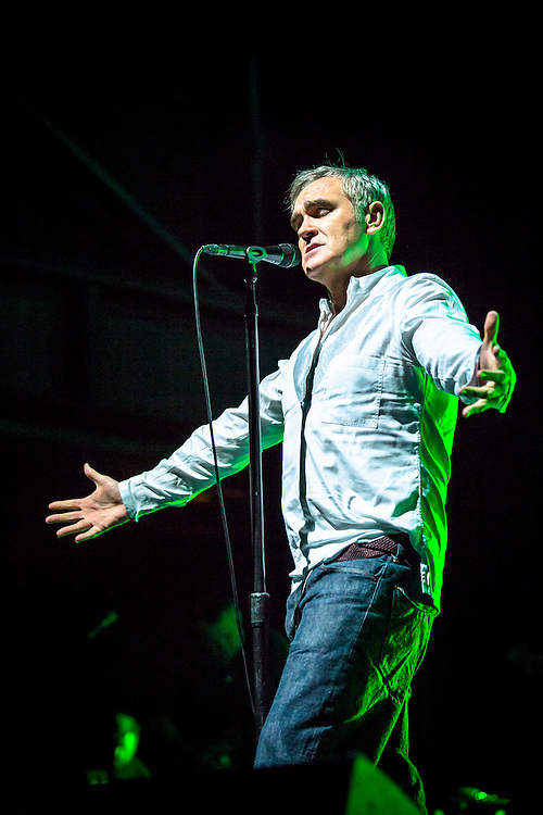 """MORRISSEY live at Palladium Cologne during """"The World Peace Is None of Your Business"""" Tour 2015. The lyricist and vocalist of the former rock band The Smiths is  an important innovator in the indie music scene and known for his contrarian opinions and as a fiercful an animal protectionist.<br /> <br /> © IRIS EDINGER   Photography"""