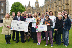 © Licensed to London News Pictures. 14/05/2013. Westminster, UK Patients campaigning for a life-saving treatment to be made available for all sufferers of the rare blood disease atypical Haemolytic Uraemic Syndrome (aHUS) present an urgent petition with over 30,000 signatures to MPs at the House of Commons on Tuesday May 14 2013... Photo credit : Stephen Simpson/LNP