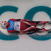 Winter Olympics, Vancouver, 2010.Samuel Edney, Canada, in action during the Luge Men's Singles training run at The Whistler Sliding Centre, Whistler, during the Vancouver  Winter Olympics. 10th February 2010. Photo Tim Clayton