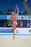 Serdyukova Anastasiya during qualifying at hoop in the Pesaro World Cup April 10, 2015. Anastasiya is an Azerbaijani individual rhythmic gymnast, she was born on May 29, 1997 in Tashkent, Uzbekistan. Her goal is to compete at the 2020 Olympic Games in Tokyo.