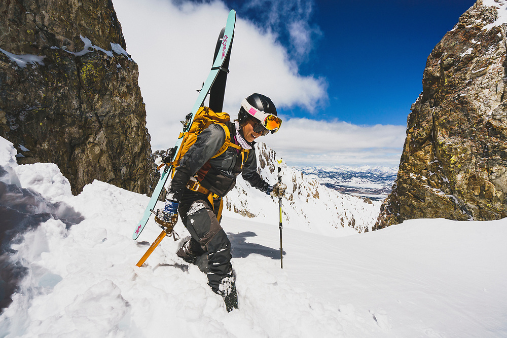 Lani Bruntz reaches the top of the JC Couloir, Sawtooth Range, Idaho.