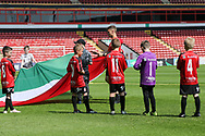 Mascots prepare to fly the Italy flag during the UEFA European Under 17 Championship 2018 match between England and Italy at the Banks's Stadium, Walsall, England on 7 May 2018. Picture by Mick Haynes.