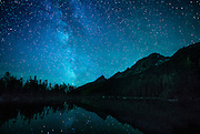 Milky Way across the sky above String Lake in Grand Teton National Park.