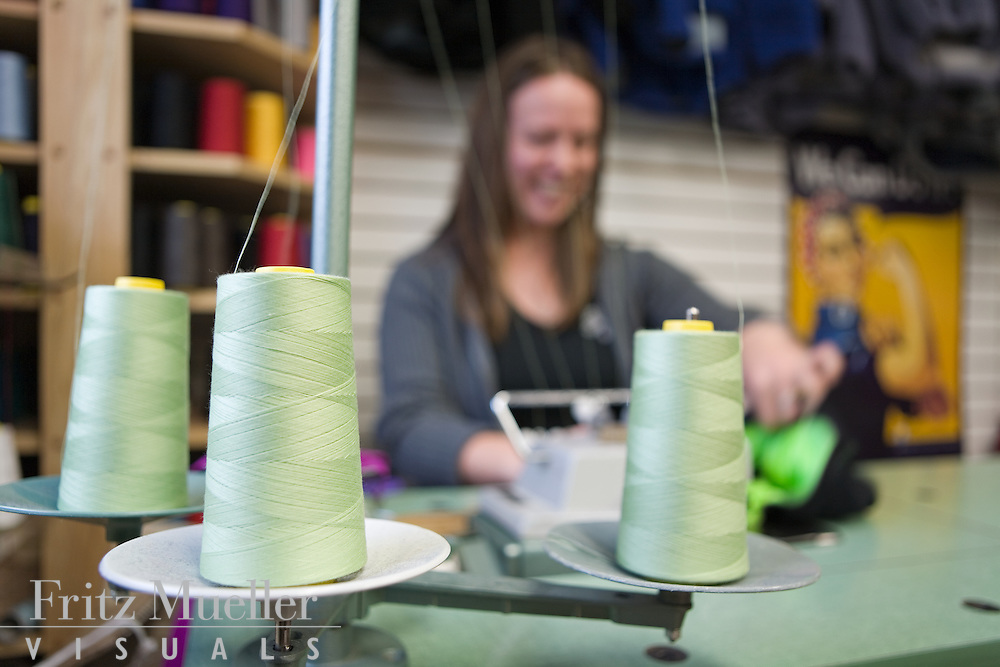 Seamstresses sewing sports clothing at Sportees Active Wear in Whitehorse Yukon