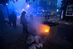 © Licensed to London News Pictures. 01/11/2015. London, UK. The scene where Riot police clashed with party goers at the site of an illegal halloween rave in London where it has been reported that a petrol bomb was thrown. Photo credit: Ben Cawthra/LNP