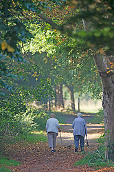 ©Licensed to London News Pictures 15/09/2020  <br /> Sidcup, UK. Two walkers enjoying a chat together. A sunny morning at Footscray Meadows in Sidcup, South East London. Today is set to be another hot day of September sun. credit:Grant Falvey/LNP