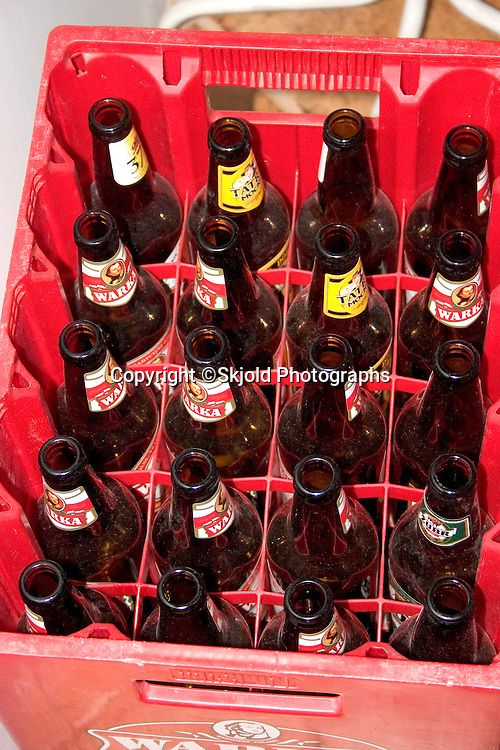 Case of empty Polish beer bottles who were are friends.   Zawady   Central Poland