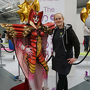Olympia London, London, England, UK. Model Cilicia Elvin by Venice Marshall MUA showcases her latest works and the winner of Comic Strip Couture Body Painting Competition, at The Olympia Beauty show at Kensington Olympia in London on 1st October 2017.