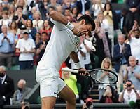 Lawn Tennis - 2021 All England Championships - Week Two - Friday - Wimbledon<br /> Mens Semi Final - Novak Djokovic v Denis Shapovalov<br /> <br /> Novak Djokovic  celebrates his win<br /> <br /> <br /> Credit : COLORSPORT/Andrew Cowie