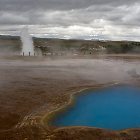 """Island, the land of fire and ice, is also known for its geysers and hot springs. """"Geysir"""", the original and most famous geyser in the world; <br /> """"Strokkur"""", which erupts every 5-10 minutes; and the hotspring pool Blesi, are all closely located at the geothermal area of Haukadalur."""