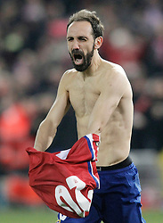 15-03-2016 ESP, UEFA CL, Atletico Madrid - PSV Eindhoven, Madrid<br /> Atletico de Madrid's Juanfran Torres celebrates the victory  // during the UEFA Champions League Round of 16, 2nd Leg match between Atletico Madrid and PSV Eindhoven at the Estadio Vicente Calderon in Madrid, Spain on 2016/03/15. <br /> <br /> ***NETHERLANDS ONLY***