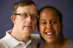 Portrait of boyfriend and girlfriend day service users with learning disabilities,