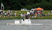 Eton,  GREAT BRITAIN. Race umpire signals a completed race, Eton Schools' Regatta, Eton Rowing Centre, Dorney Lake. [Finish of cancelled National Schools Regatta], Saturday, 07/06/2008  [Mandatory Credit:  Karon PHILLIPS / Intersport Images]. Rowing Courses, Dorney Lake, Eton. ENGLAND