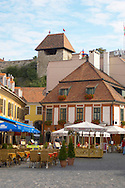 Eger Castle and Sentor Hotel and cafe restaurant from Dobo Square in the summer - Eger- Hungary .<br /> <br /> Visit our HUNGARY HISTORIC PLACES PHOTO COLLECTIONS for more photos to download or buy as wall art prints https://funkystock.photoshelter.com/gallery-collection/Pictures-Images-of-Hungary-Photos-of-Hungarian-Historic-Landmark-Sites/C0000Te8AnPgxjRg