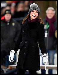 January 30, 2018 - Stockholm, Stockholm, Sweden - Duke & Duchess of Cambridge tour to Sweden & Norway-Day One. Prince William, The Duke of Cambridge accompanied by his wife Catherine, The Duchess of Cambridge, as they meet a group of local bandy players on the ice and at  Vasaparken  and learn more about the sport and its popularity in Sweden. (Credit Image: © Andrew Parsons/i-Images via ZUMA Press)