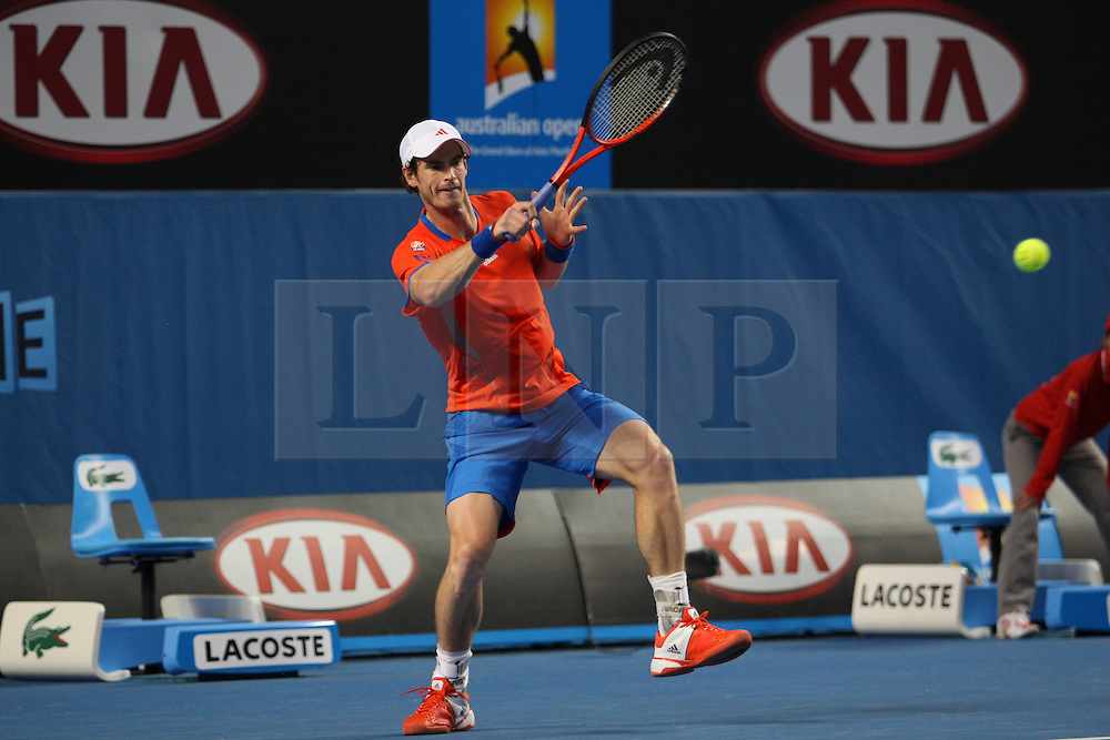 © Licensed to London News Pictures. 21/01/2012. Melbourne Park, Australia. Andy Murray (GBR) in his men's singles match against Michael Llodra (FRA) during the 6th day, round 3 of the Australian Open. Photo credit : Asanka Brendon Ratnayake/LNP