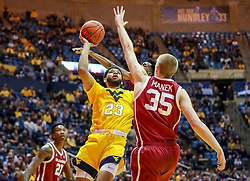 Feb 2, 2019; Morgantown, WV, USA; West Virginia Mountaineers forward Esa Ahmad (23) shoots during the second half against the Oklahoma Sooners at WVU Coliseum. Mandatory Credit: Ben Queen-USA TODAY Sports