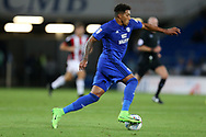Nathaniel Mendez-Laing of Cardiff city in action. EFL Skybet championship match, Cardiff city v Sheffield Utd at the Cardiff City Stadium in Cardiff, South Wales on Tuesday 15th August 2017.<br /> pic by Andrew Orchard, Andrew Orchard sports photography.