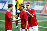 Fotball 1. juni 2012 , U21  Norge - Azerbaijan<br /> Norway - Azerbaijan<br /> Marcus Pedersen  ,Norge , har scoret her sammen med Thomas Drage (tv) og Vegar Hedenstad (midten) , Norge