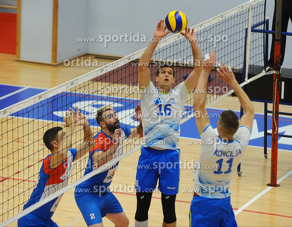 Gregor Ropret of Slovenia and Danijel Koncilija of Slovenia during friendly volleyball match between National teams of Serbia and Slovenia, on August 18, 2017, in Belgrade, Serbia. Photo by Nebojsa Parausic / MN press / Sportida