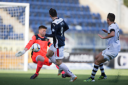 Falkirk's David Smith has a chance saved by Dumbarton's keeper Danny Rogers.<br /> Falkirk 1v 1 Dumbarton, Scottish Championship game played 20/9/2014 at The Falkirk Stadium .