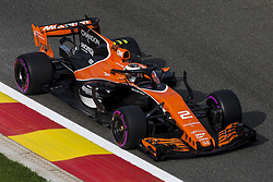 August 25, 2017 - Spa, Belgium - 02 VANDOORNE Stoffel from Belgium of McLaren Honda using the Halo during the Formula One Belgian Grand Prix at Circuit de Spa-Francorchamps on August 25, 2017 in Spa, Belgium. (Credit Image: © Xavier Bonilla/NurPhoto via ZUMA Press)