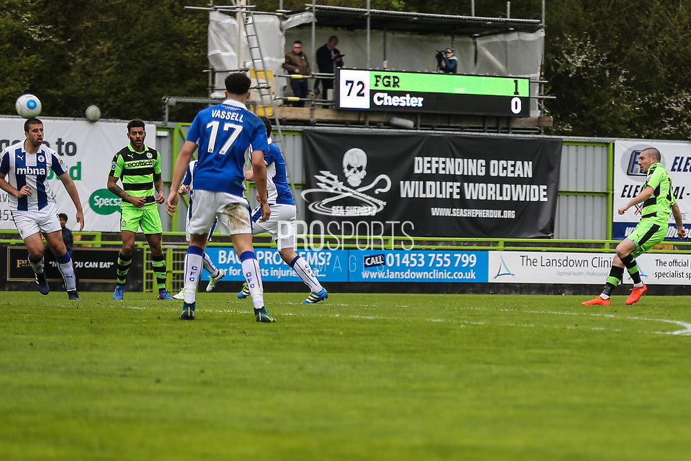 Forest Green Rovers Liam Noble(15) shoots at goal scores a goal 2-0 during the Vanarama National League match between Forest Green Rovers and Chester FC at the New Lawn, Forest Green, United Kingdom on 14 April 2017. Photo by Shane Healey.