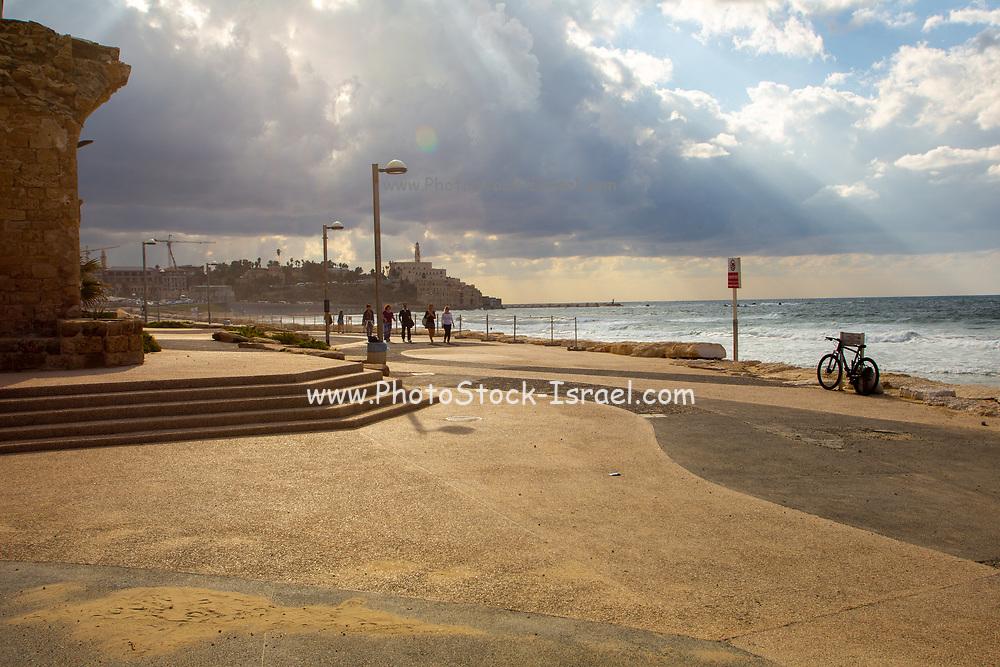 Charles Clore Park a beach front park between Tel Aviv and Jaffa. Israel looking south towards Jaffa