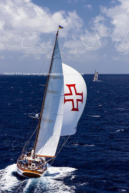 Seljm sailing in the Antigua Classic Yacht Regatta, Windward Race.