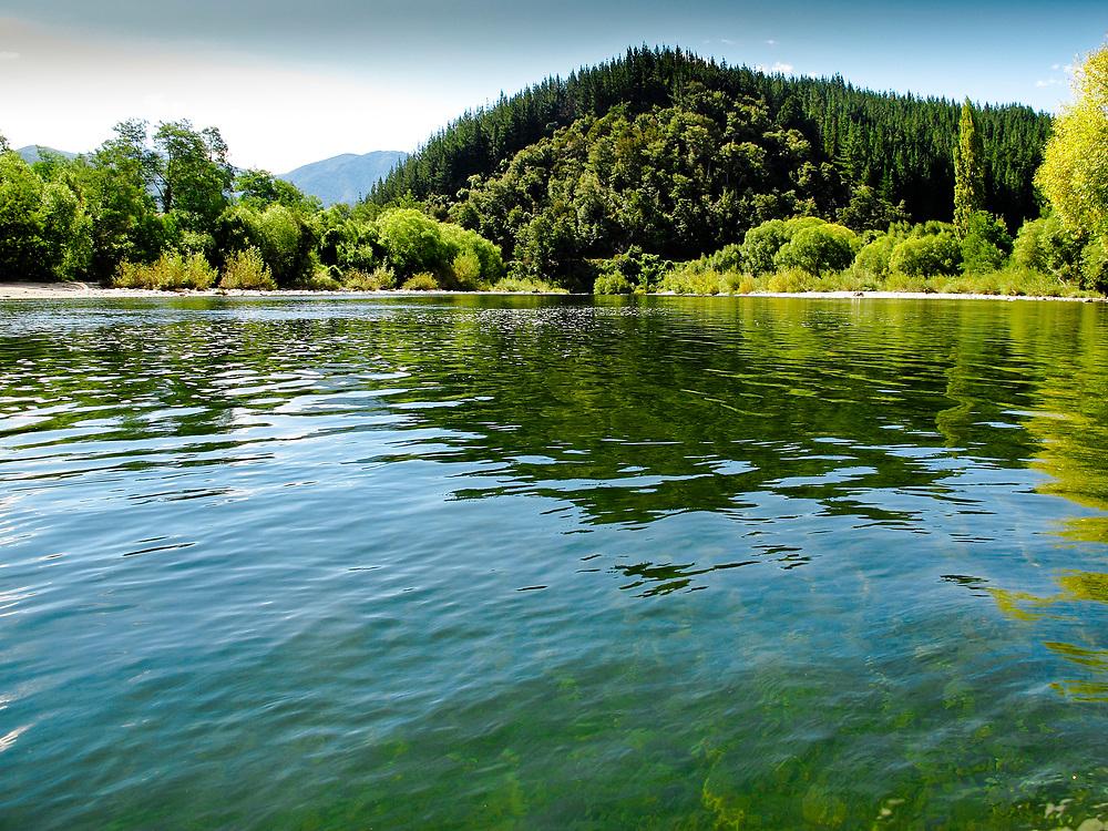 Views looking down the Motueka River, Tasman,Nelson