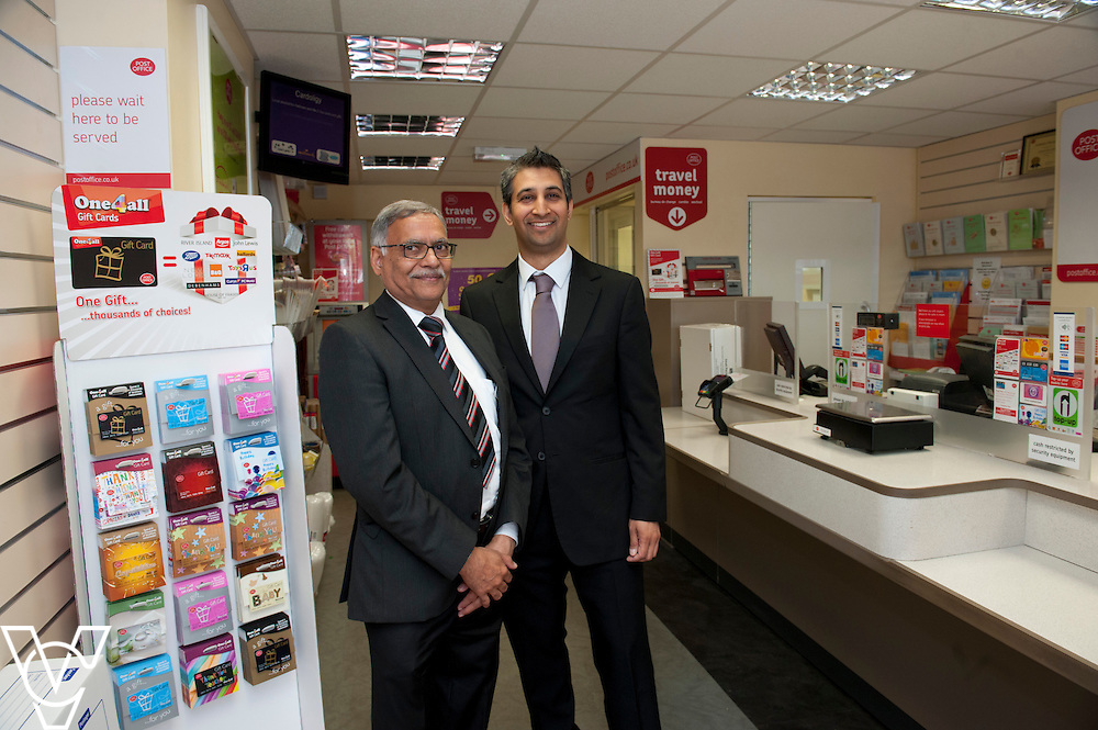 Pictured is sub-postmaster Dhiraj Lal Desai, left, and postmaster Roopesh Naik<br /> <br /> Shirebrook Post Office Postmaster Roopesh Naik has recently taken over a second Post Office branch (Warsop) and plans to take on even more in the future.  He hopes the new website – www.runapostoffice.co.uk - will help him find the right opportunity.<br /> <br /> Date: May 23, 2015