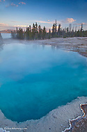 Black Pool geyser in the West Thumb Geyser Basin along Yellowstone Lake in Yellowstone National Park in Wyoming