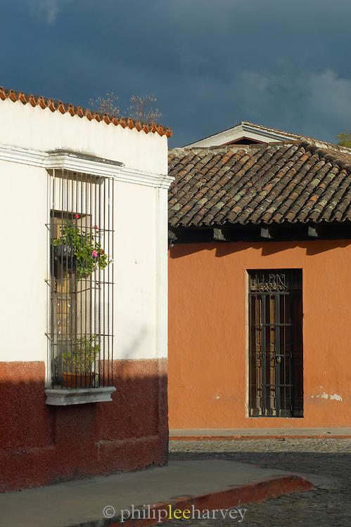 Quiet street scene in Antigua, a UNESCO World Heritage Site in Guatemala