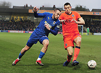 Football - 2018 / 2019 Emirates FA Cup - Fifth Round: AFC Wimbledon vs. Millwall<br /> <br /> Dylan Connolly of Wimbledon and Murray Wallace of Millwall , at the Cherry Red Records Stadium (Kingsmeadow).<br /> <br /> COLORSPORT/ANDREW COWIE