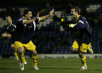 Photo: Paul Thomas.<br /> Bury v Weymouth. The FA Cup. 21/11/2006.<br /> <br /> Wayne Purser (R) of Weymouth celebrates his goal.