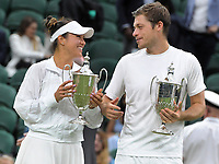 Lawn Tennis - 2021 All England Championships - Men's Final Sunday - Wimbledon - Mixed Doubles Final on Centre Court. Neal Skupski and Desirae Krawczyk v Joe Salisbury and Harriet Dart<br /> <br /> Neal Skupski and Desirae Krawczyk with their trophies<br /> <br /> <br /> Credit : COLORSPORT / Andrew Cowie