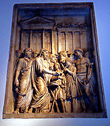 Relief depicting imperial triumph. This panel shows Marcus Aurelius celebrating a sacrifice in front of the temple of Jupiter Capitolinus. Roman. Circa 2nd century AD.