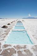 Evaporation ponds at a small salt mine in the Salinas Grandes salt flats, northern Argentina.