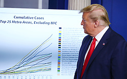 President Donald Trump looks at a chart during a Corona virus briefing at the White House in Washington, D.C. on Saturday, April 18, 2020. Photo by Tasos Katopodis/Pool/ABACAPRESS.COM